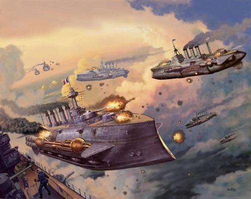 Steampunk Airships Battle Steampunk Airshi Steampunk Airship Battle Large Airship For Battle